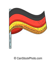 waving flag of Germany on white background