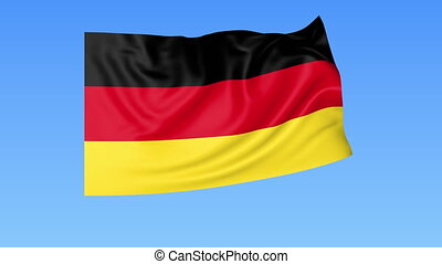 Waving flag of Germany, seamless loop. Exact size, blue background. Part of all countries set. 4K ProRes with alpha