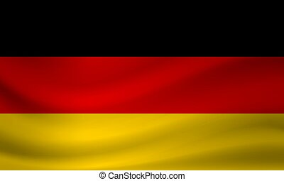 Waving flag of Germany. Vector illustration