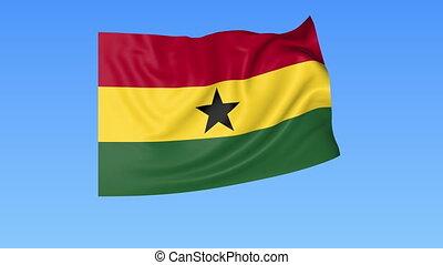 Waving flag of Ghana, seamless loop. Exact size, blue...
