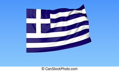 Waving flag of Greece, seamless loop. Exact size, blue background. Part of all countries set. 4K Pro Res with alpha.