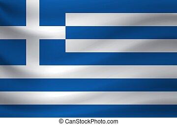 Waving flag of Greece. Vector illustration