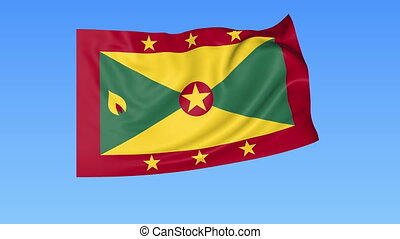 Waving flag of Grenada, seamless loop. Exact size, blue background. Part of all countries set. 4K ProRes with alpha