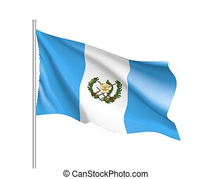 Waving flag of Guatemala