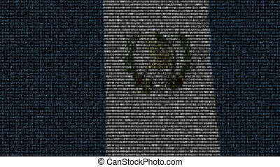 Waving flag of Guatemala made of text symbols on a computer...