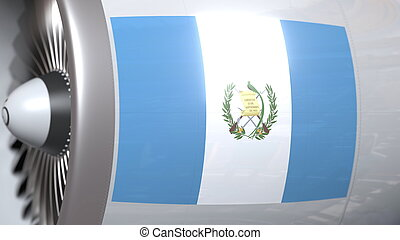 Waving flag of Guatemala on airliner tourbine engine. Aviation related 3D rendering