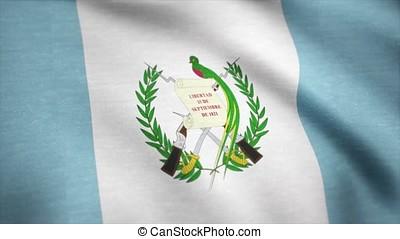 Waving flag of Guatemala, seamless loop. Exact size, blue...