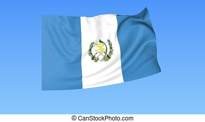 Waving flag of Guatemala, seamless loop. Exact size, blue background. Part of all countries set. 4K ProRes with alpha