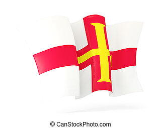 Waving flag of guernsey. 3D illustration