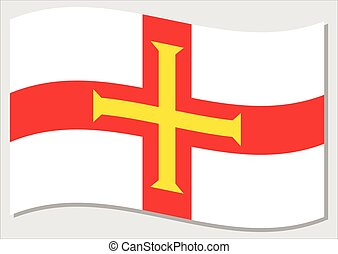 Waving flag of Guernsey vector graphic. Waving Guernesiais flag illustration. Guernsey country flag wavin in the wind is a symbol of freedom and independence.