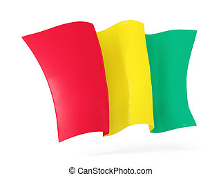 Waving flag of guinea. 3D illustration