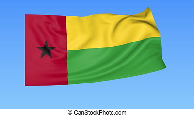 Waving flag of Guinea-Bissau, seamless loop. Exact size, blue background. Part of all countries set. 4K ProRes
