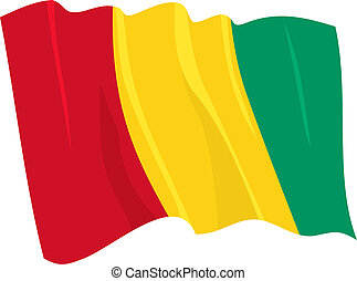waving flag of Guinea