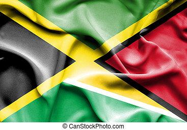 Waving flag of Guyana and