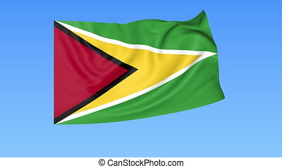 Waving flag of Guyana, seamless loop. Exact size, blue background. Part of all countries set. 4K Pro Res with alpha