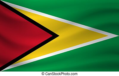 Waving flag of Guyana. Vector illustration