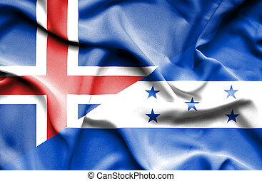 Waving flag of Honduras and Iceland