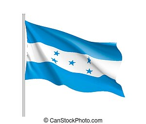 Waving flag of Honduras. Illustration of North America...