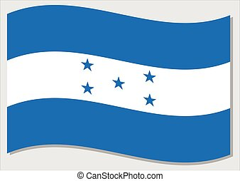 Waving flag of Honduras vector graphic. Waving Honduran flag illustration. Honduras country flag wavin in the wind is a symbol of freedom and independence.