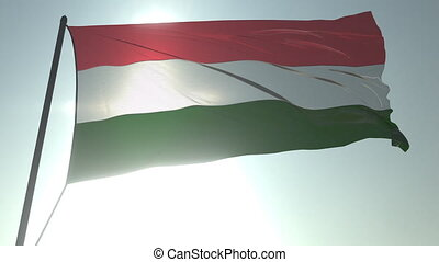 Waving flag of Hungary against shining sun and sky. Realistic loopable 3D animation