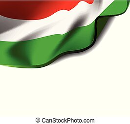 Waving flag of Hungary close-up with shadow on white background. Vector illustration with copy space