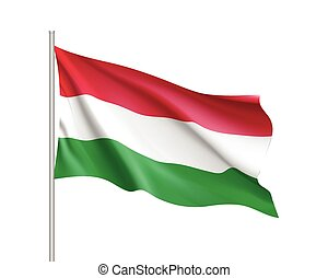 Waving flag of Hungary state.