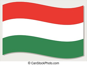 Waving flag of Hungary vector graphic. Waving Hungarian flag illustration. Hungary country flag wavin in the wind is a symbol of freedom and independence.