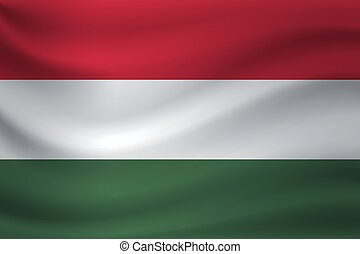 Waving flag of Hungary. Vector illustration