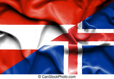 Waving flag of Iceland and Austria