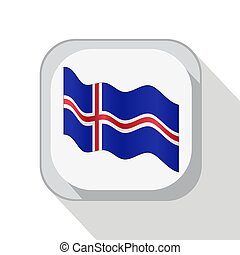 Waving flag of Iceland on the button. Vector illustration.