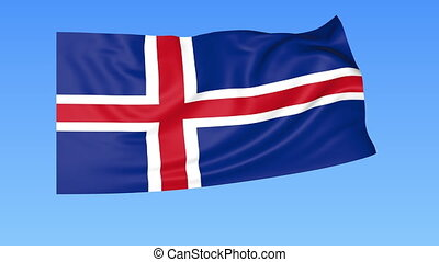 Waving flag of Iceland, seamless loop. Exact size, blue background. Part of all countries set. 4K ProRes with alpha