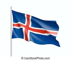 Waving flag of Iceland state