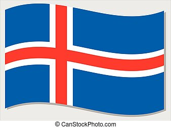 Waving flag of Iceland vector graphic. Waving Icelander flag illustration. Iceland country flag wavin in the wind is a symbol of freedom and independence.