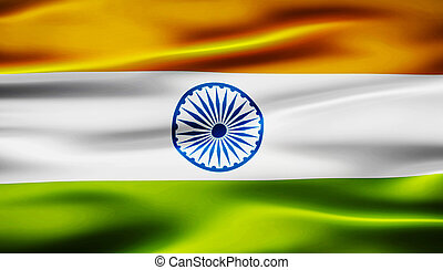 waving flag of india 3d illustration
