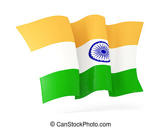 Waving flag of india. 3D illustration