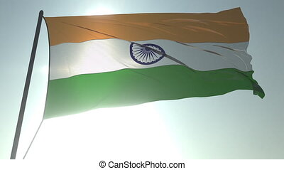 Waving flag of India against shining sun and sky. Realistic loopable 3D animation