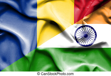 Waving flag of India and Romania