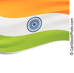 Waving flag of India isolated on white