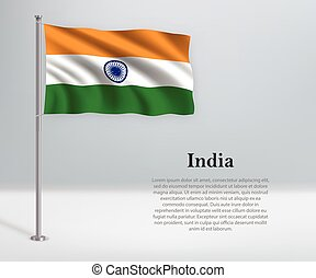 Waving flag of India on flagpole. Template for independence day