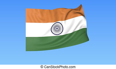 Waving flag of India, seamless loop. Exact size, blue background. Part of all countries set. 4K ProRes with alpha.