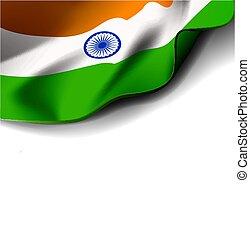 Waving flag of india Vector illustration on white background