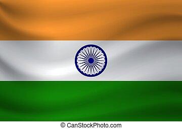 Waving flag of India. Vector illustration