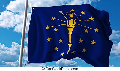 Waving flag of Indiana. 4K clip - Waving flag of Indiana. 4K...