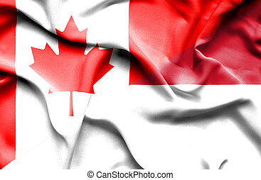 Waving flag of Indonesia and Canada
