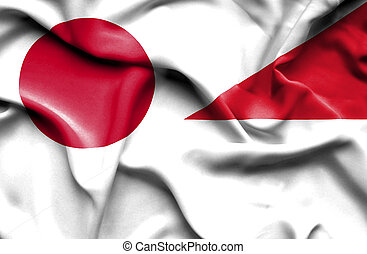 Waving flag of Indonesia and Japan