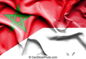 Waving flag of Indonesia and Morocco