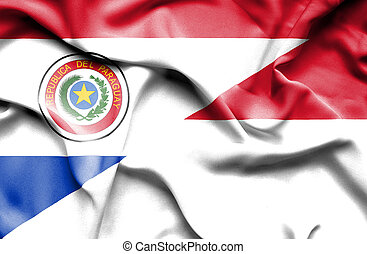 Waving flag of Indonesia and Paraguay