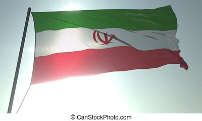 Waving flag of Iran against shining sun and sky. Realistic loopable 3D animation