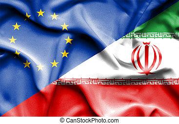 Waving flag of Iran and EU