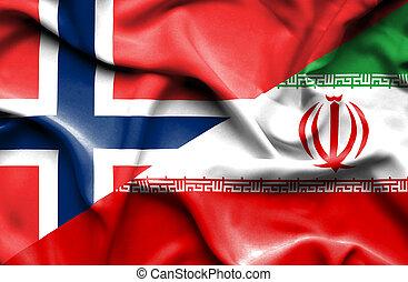 Waving flag of Iran and Norway